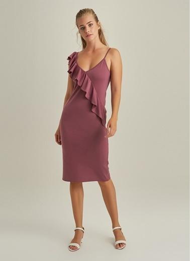 NGSTYLE Volanlı Askılı Elbise Gül Kurusu